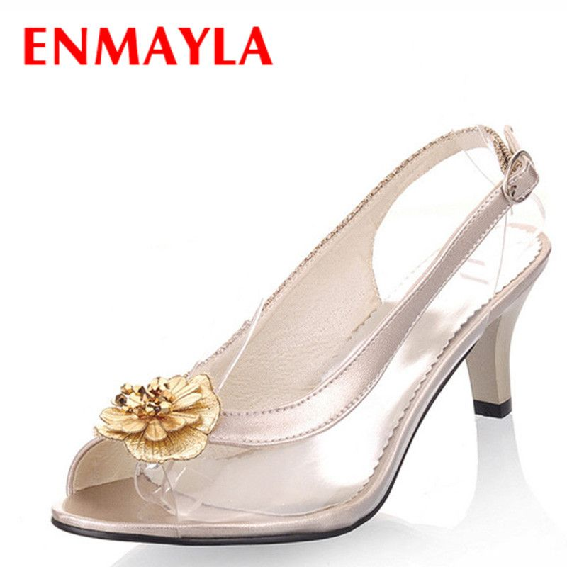 ENMAYLA Summer Dress Clear Shoes Woman Peep Toe Sandals