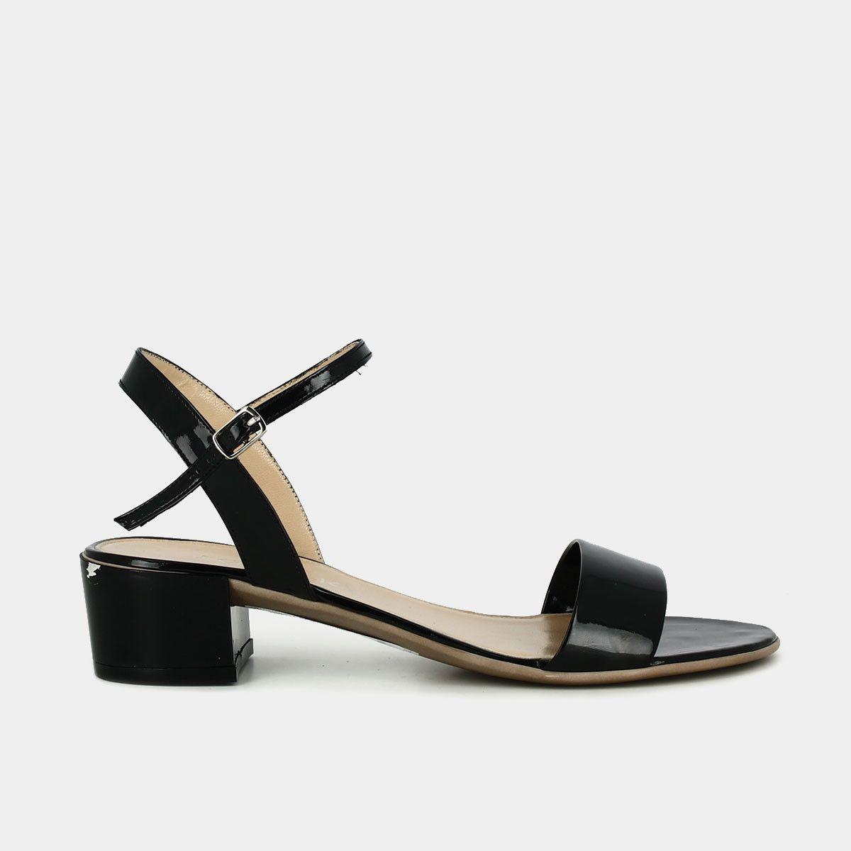 Sandales à talon carré Femme en vernis noir | Jonak