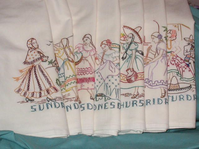 7 Vintage 1940 Mexican Girls New Hand Embroidered Flour Sack Dish