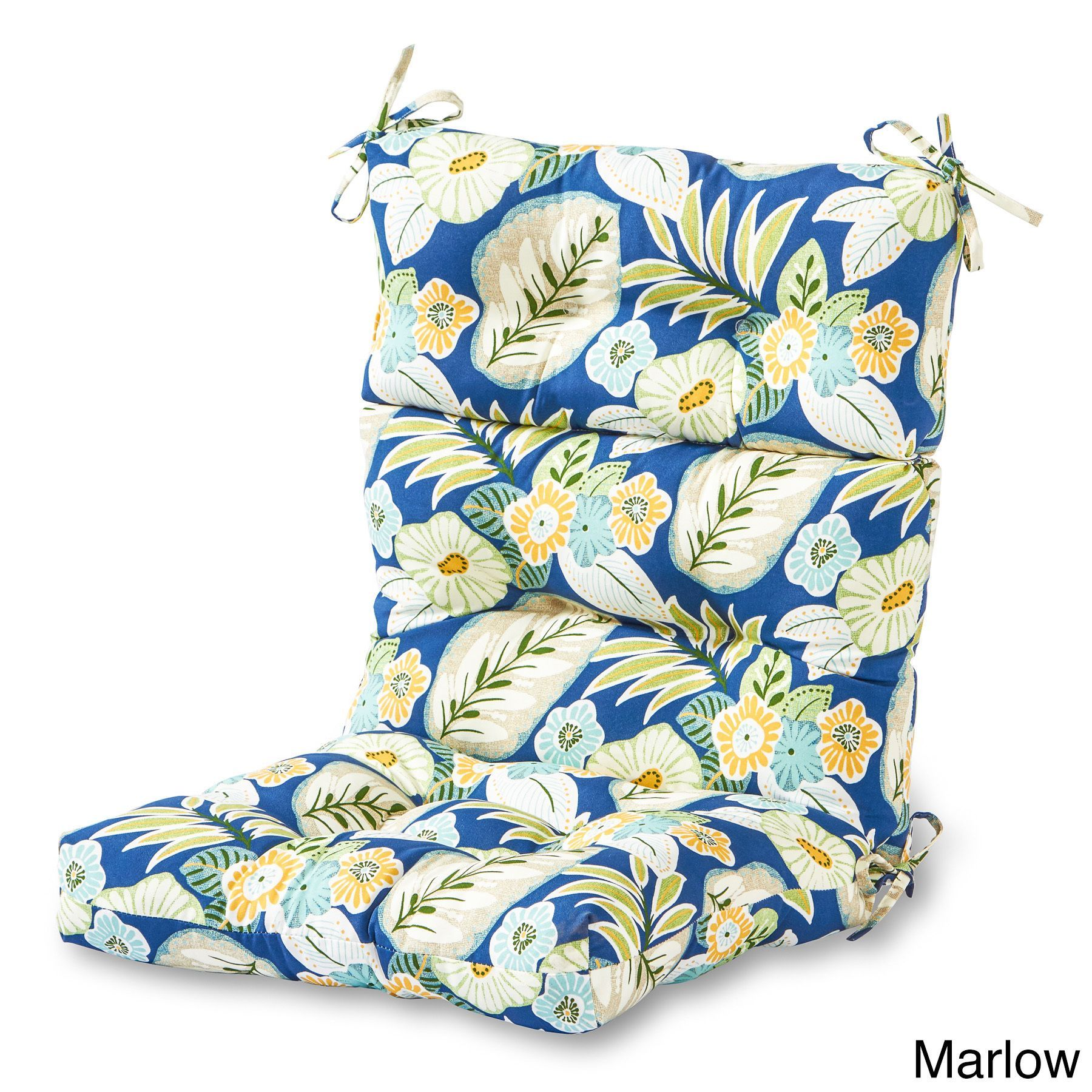 44x22 Inch 3 Section Outdoor High Back Chair Cushion Marlow Blue