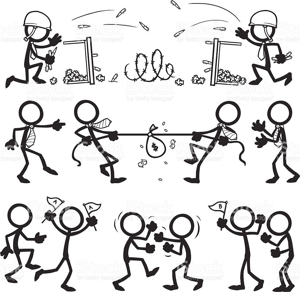 Stick Figure People Business Team Conflict Vector