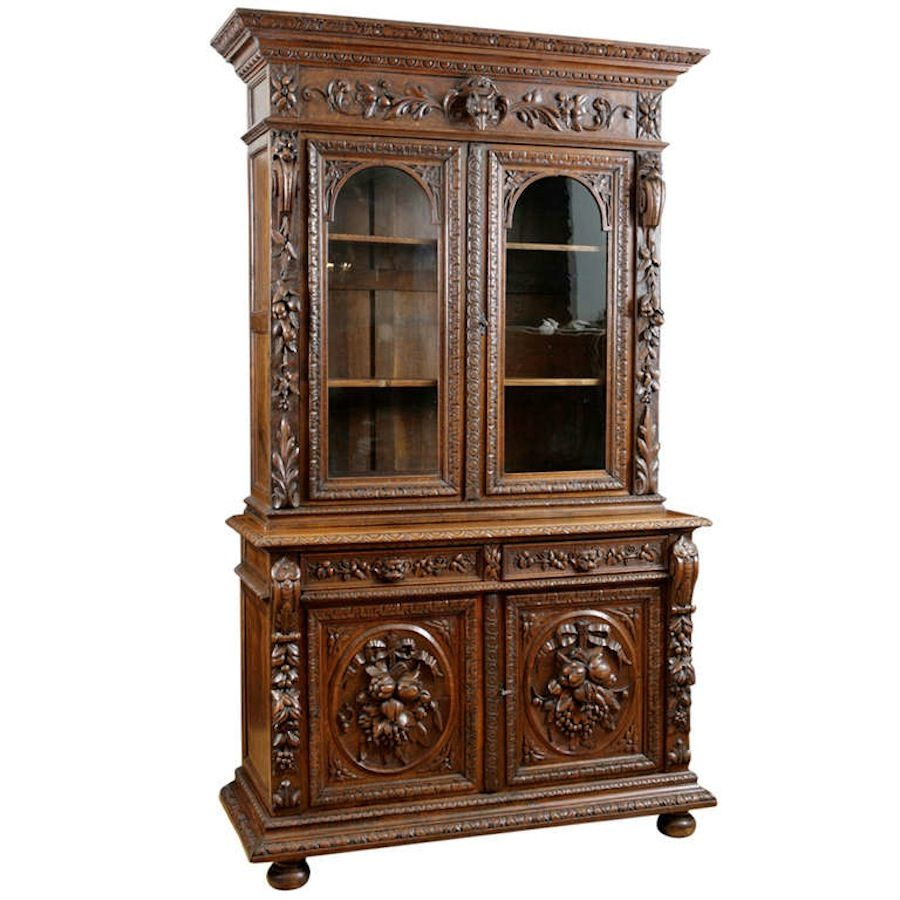 Flemish Buffet A Deux Corps In Carved Oak, C. 1850