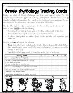 Greek Mythology Trading Cards Project After Reading Myths This Could Be Adapted For Other Units Egypti Greek Mythology Lessons Mythology Greek Mythology