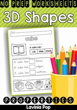 3D Shape Properties No Prep Worksheets   My TpT Products   Pinterest ...