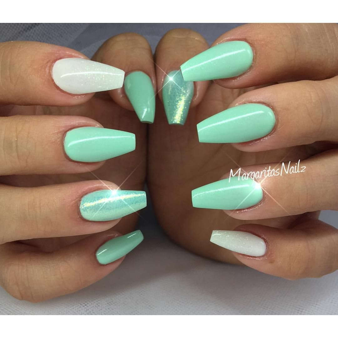 Instagram Photo By Margaritasnailz Apr 26 2016 At 8 07pm Utc Mint Green Nails Teal Acrylic Nails Green Nails