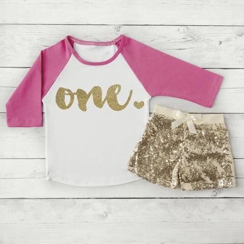 1 Year Old Birthday Shirts 1st Shirt Outfit Set With Shorts Trendy Toddler Girl Gold One Sequin Raglan 102