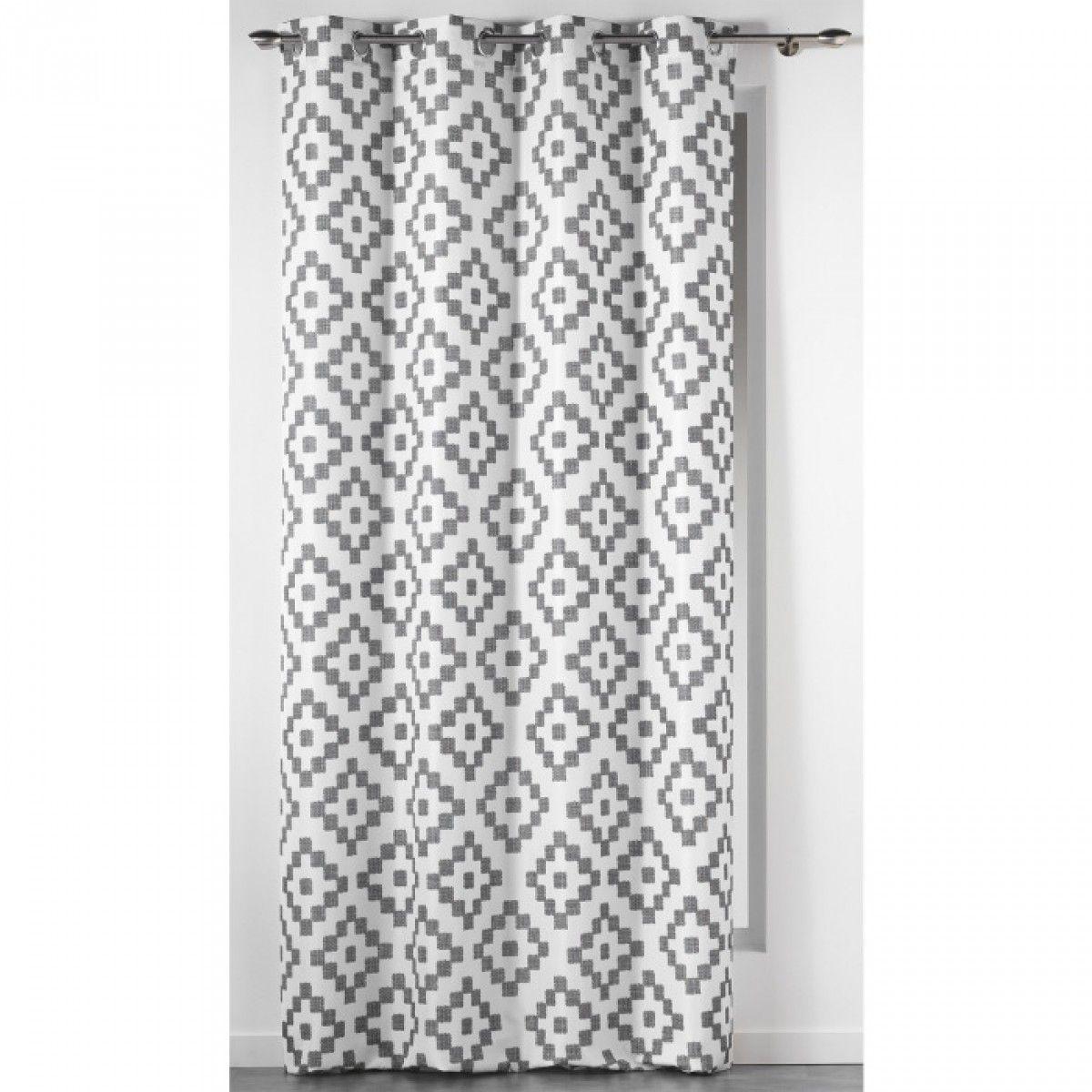 rideau motifs sasha blanc gris 140x260 douceur d. Black Bedroom Furniture Sets. Home Design Ideas
