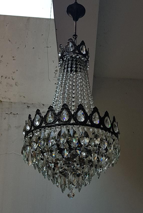 Antique Vintage French Empire Br Crystals Large