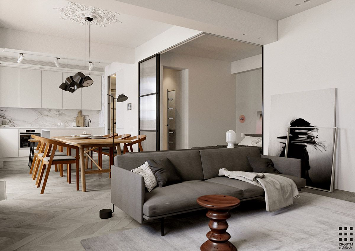 Studio Apartment With Glass Wall Bedroom A Swing In The