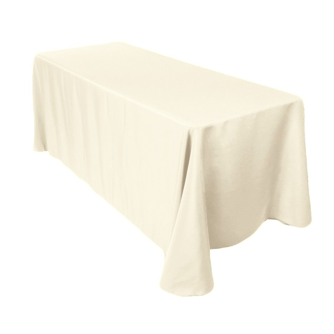 90 X 132 Inch Rectangular Economy Polyester Tablecloth Ivory