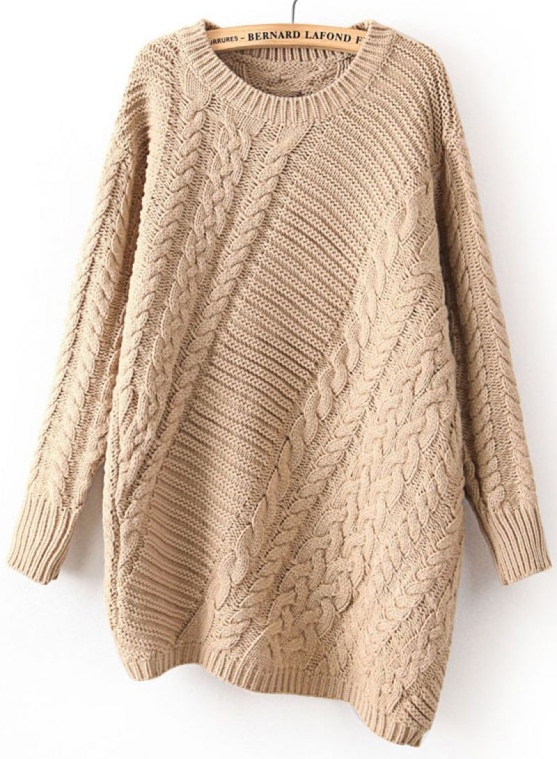 Khaki Long Sleeve Asymmetrical Cable Knit Sweater - abaday.com ...