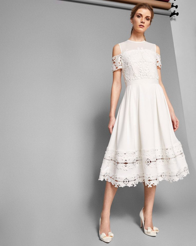 da4e019be Structured lace midi dress - Ivory