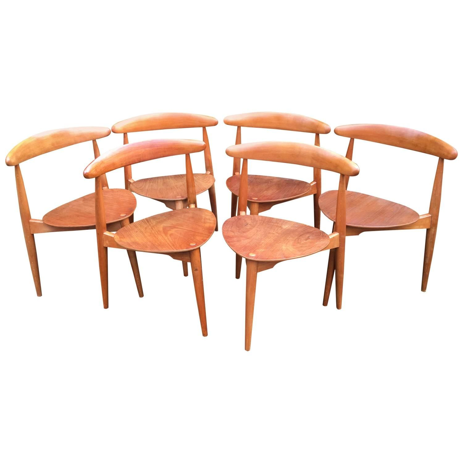 Set Of Six Hans Wegner U0027Heartu0027 Chairs U0027Model FH4103u0027 ...