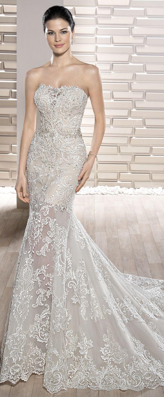 Gorgeous tulle strapless neckline seethrough mermaid wedding dress