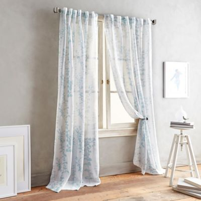 Buy DKNY Front Row 108-Inch Back Tab Sheer Window Curtain Panel in Linen from Bed Bath & Beyond
