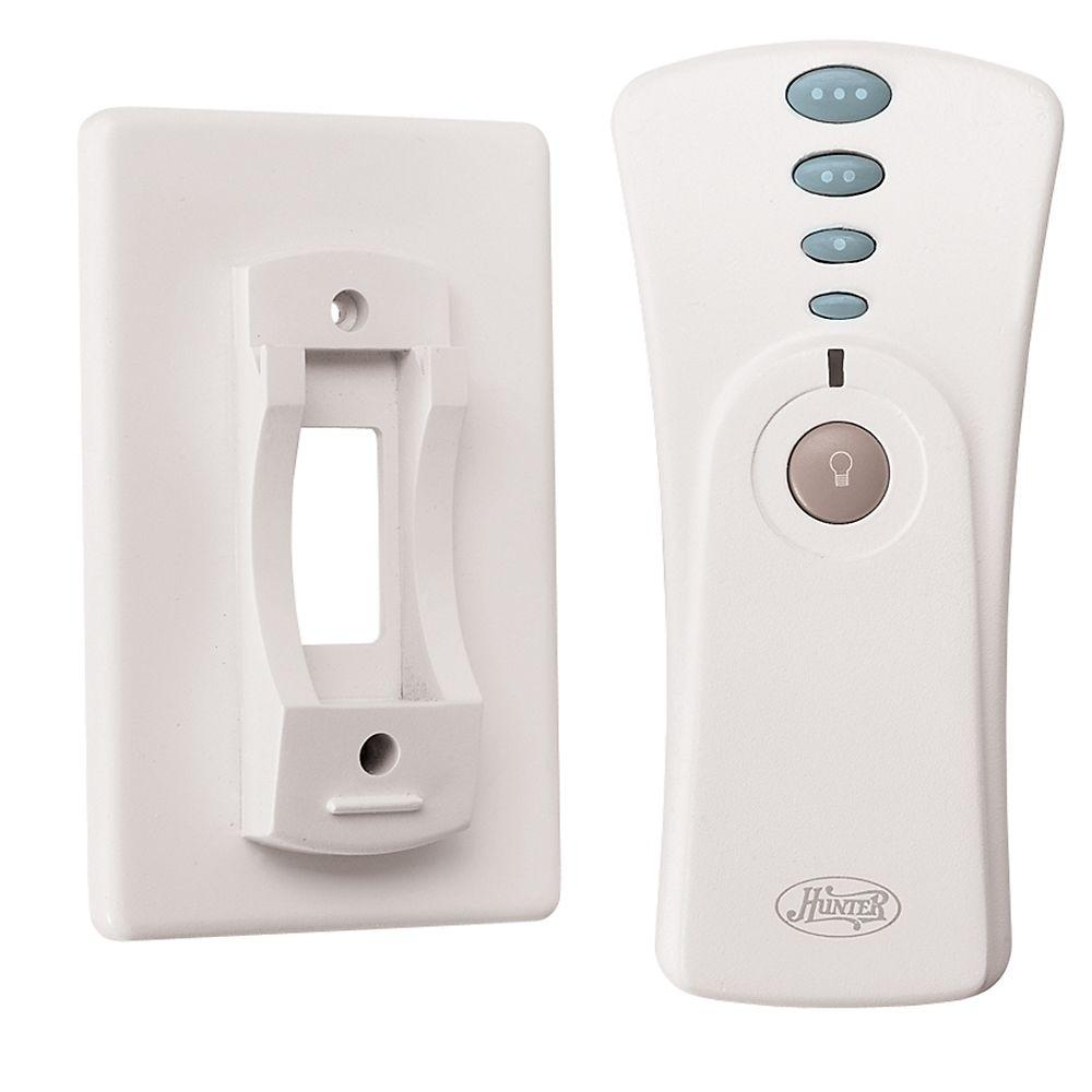 Hunter White Indoor Universal Hand Held Remote Control 99119 The Home Depot Ceiling Fan Remote Controls Hunter Ceiling Fans Ceiling Fan With Remote Hunter ceiling fans with remote
