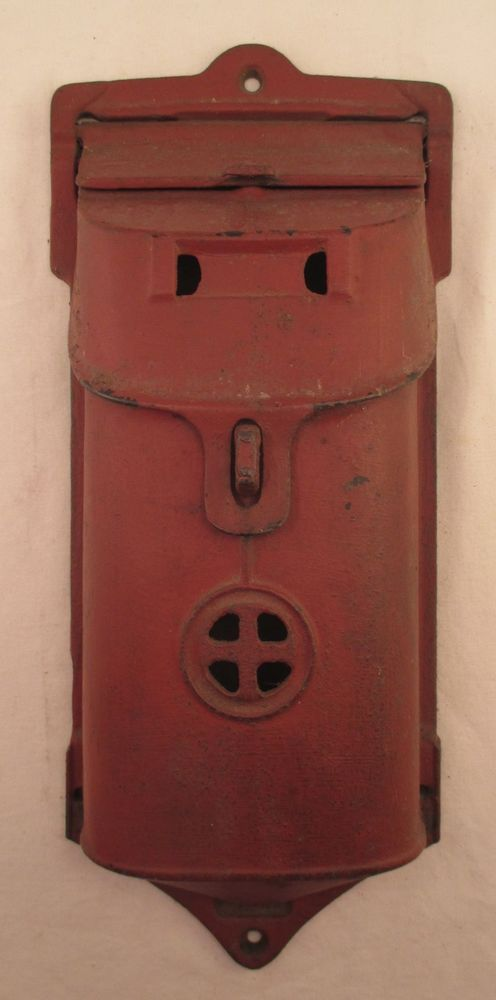 Antique Vintage Griswold 106a Cast Iron Mailbox Wall Mount Painted Red Erie Pa Metalware Wall Mount Mailbox Mailbox