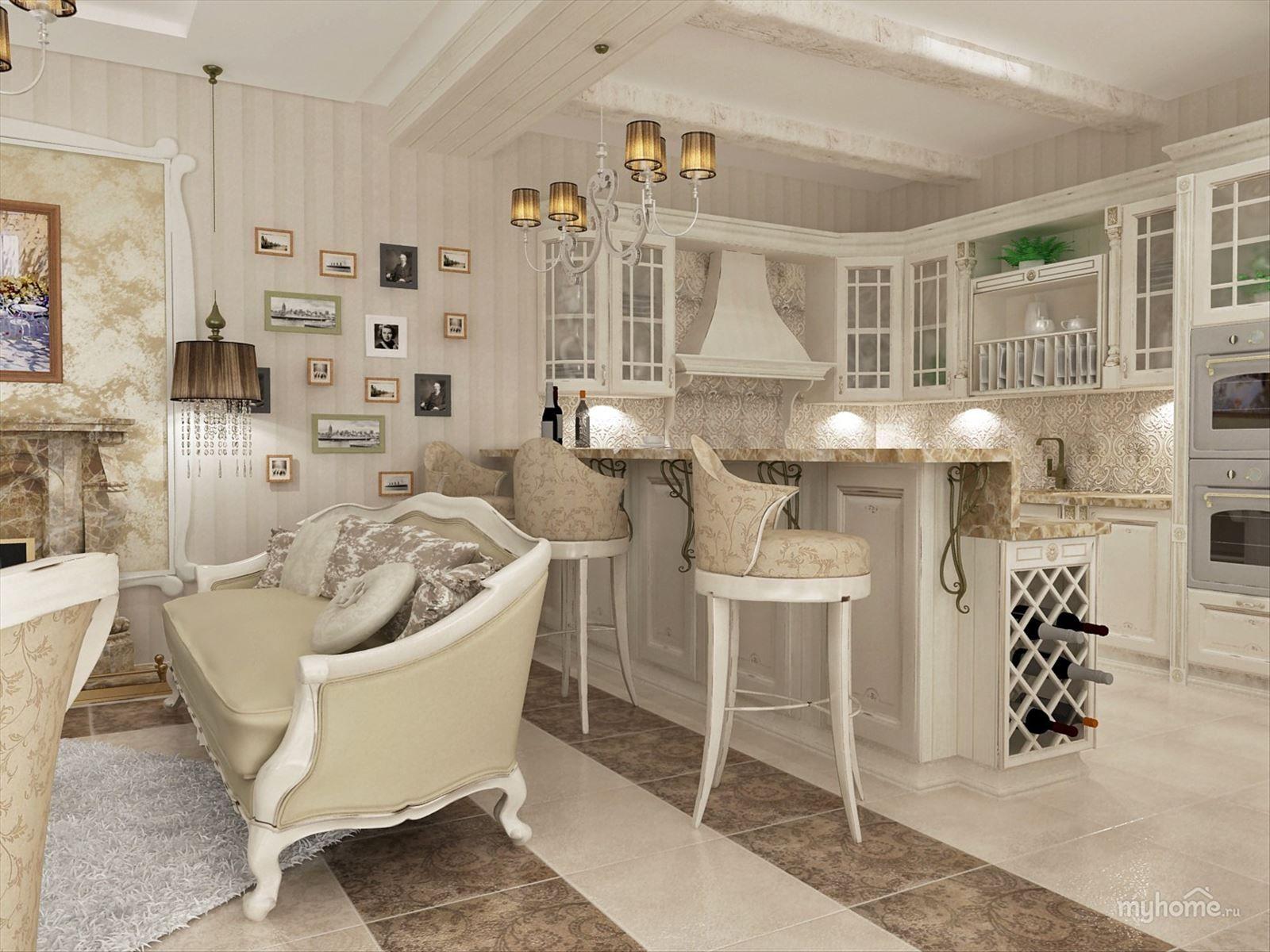 """Кухня-гостиная в стиле """"прованс""""   Дизайн гостиной, Дизайн ..."""