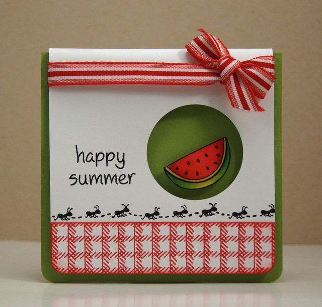 Picnic Card Using Lawn Fawn Happy Summer Stamp Set