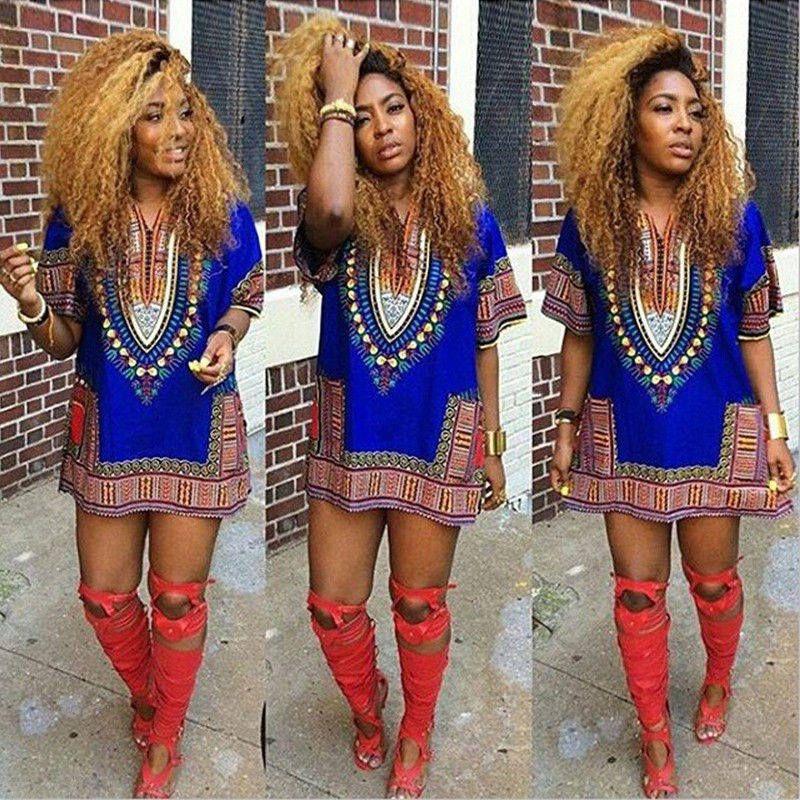 Fashion Women African Festival Dashiki Shirt Kaftan Boho Hippe Gypsy  Festival Tops Party Dress 5 Colors