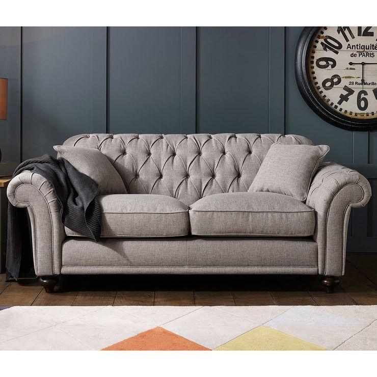 Bordeaux Button Back 2 Seater Fabric Sofa Grey Fabric Sofa Sofa Set Sofa