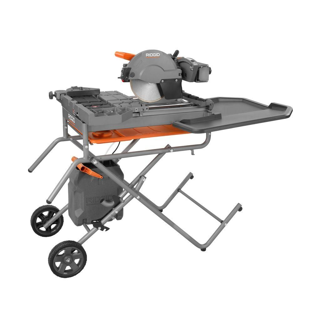 Ridgid 10 In Wet Tile Saw With Stand Tile Saw Tiles Large Tile