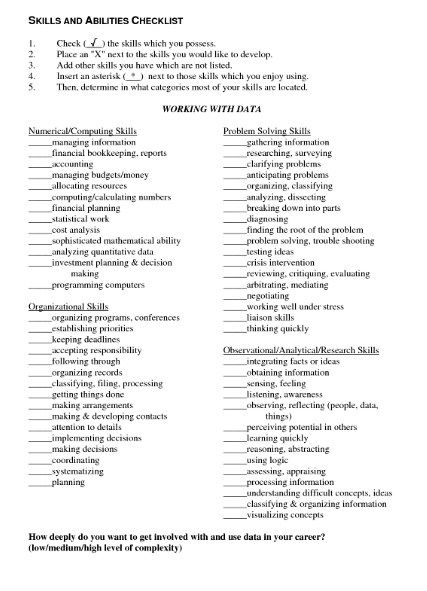 Skills And Abilities List For Resume List Of Resumes Abilities List