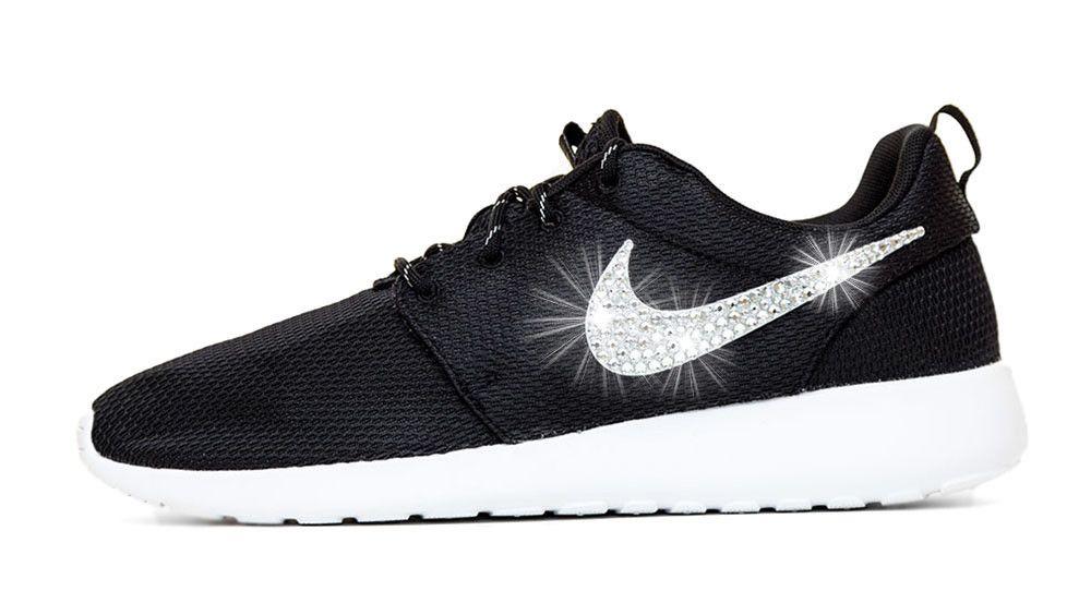 Nike Roshe One - Hand Customized Crystallized Swarovski Swoosh - Black –  Glitter Kicks 2cf233d47280