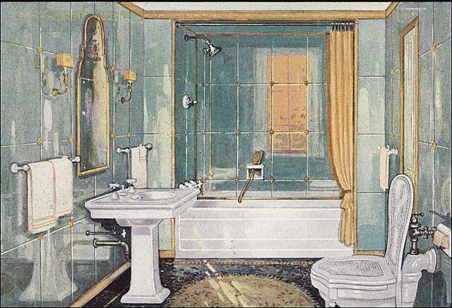 1926 Elegant Crane Bathroom Art Deco Bathroom Colorful Bathroom Tile Retro Bathrooms