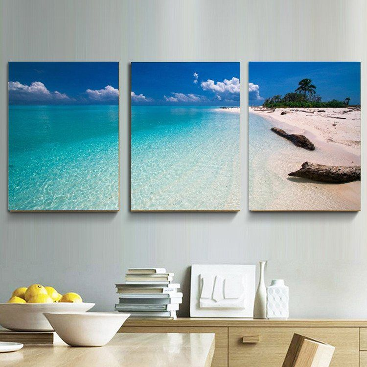 Blue Sky Sea Sand Beach Oil Paintings 3 Piece Hd Picture Canvas Prints Artwork For Home Home Decor Paintings 3 Panel Wall Art