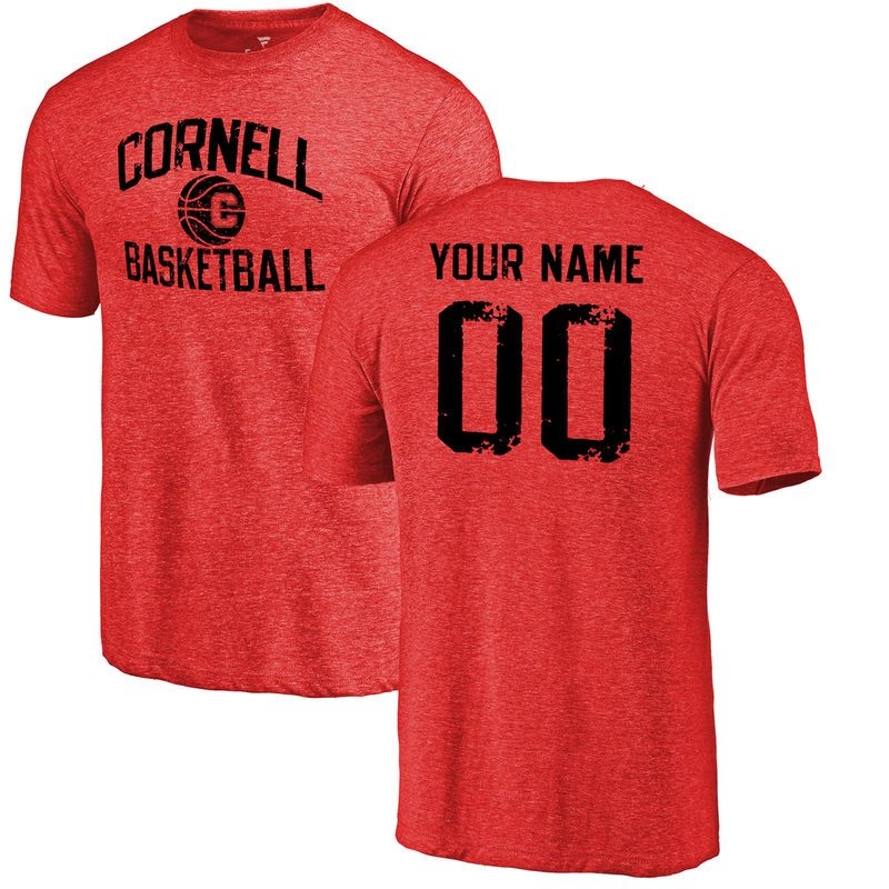Cornell Big Red Personalized Distressed Basketball Tri-Blend T-Shirt -  Burgundy cdf052417