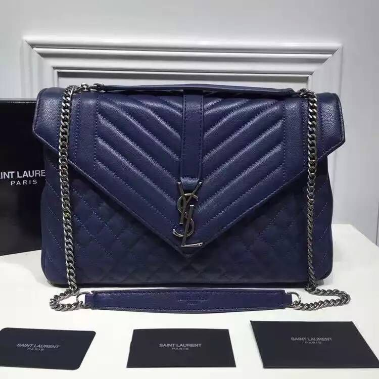 Saint Laurent Large Monogram Envelope Satchel In Blue