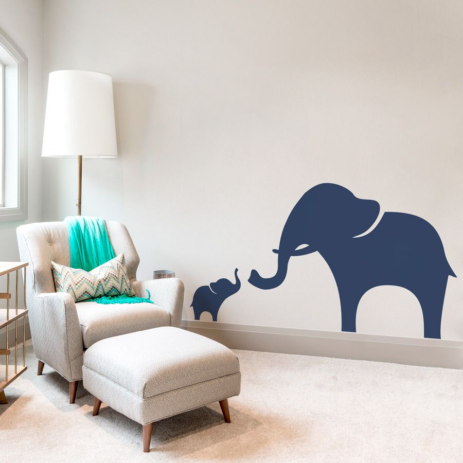 Mama and Baby Elephant Wall Decal | Ideas for the House | Pinterest ...