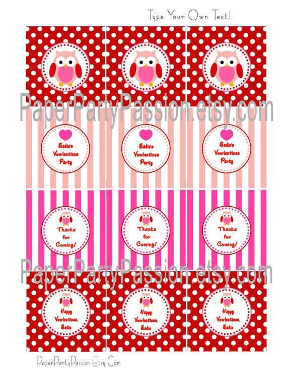 Valentines Labels | Owl Valentines Labels or Tags-EDITABLE and PRINTABLE-PDF File, You ...