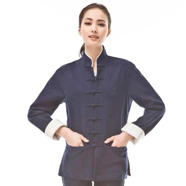 e70347c781 Traditional Chinese Clothing Women Tang Suit Tops Coat Fashion Qipao Casual  National Trend Original Cotton Quality Blue Jacket