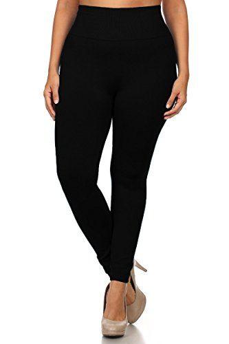 761ec84d37cab2 World of Leggings PLUS SIZE High Waisted Fleece Lined Legging - Black >>>  More details @