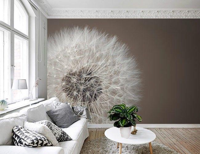 Met dit fotobehang van een paardenbloem geef je je kamer for Kostprijs behangen per m2