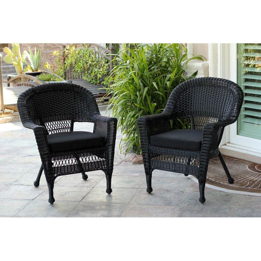 Jeco black wicker chair set of beige patio furniture