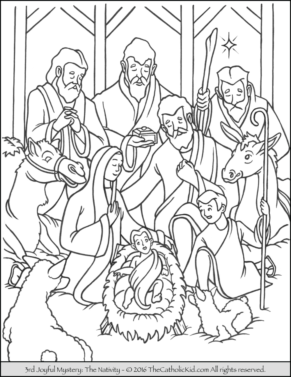Joyful Mysteries Rosary Coloring Pages The Catholic Kid Nativity Coloring Christmas Coloring Pages Jesus Coloring Pages