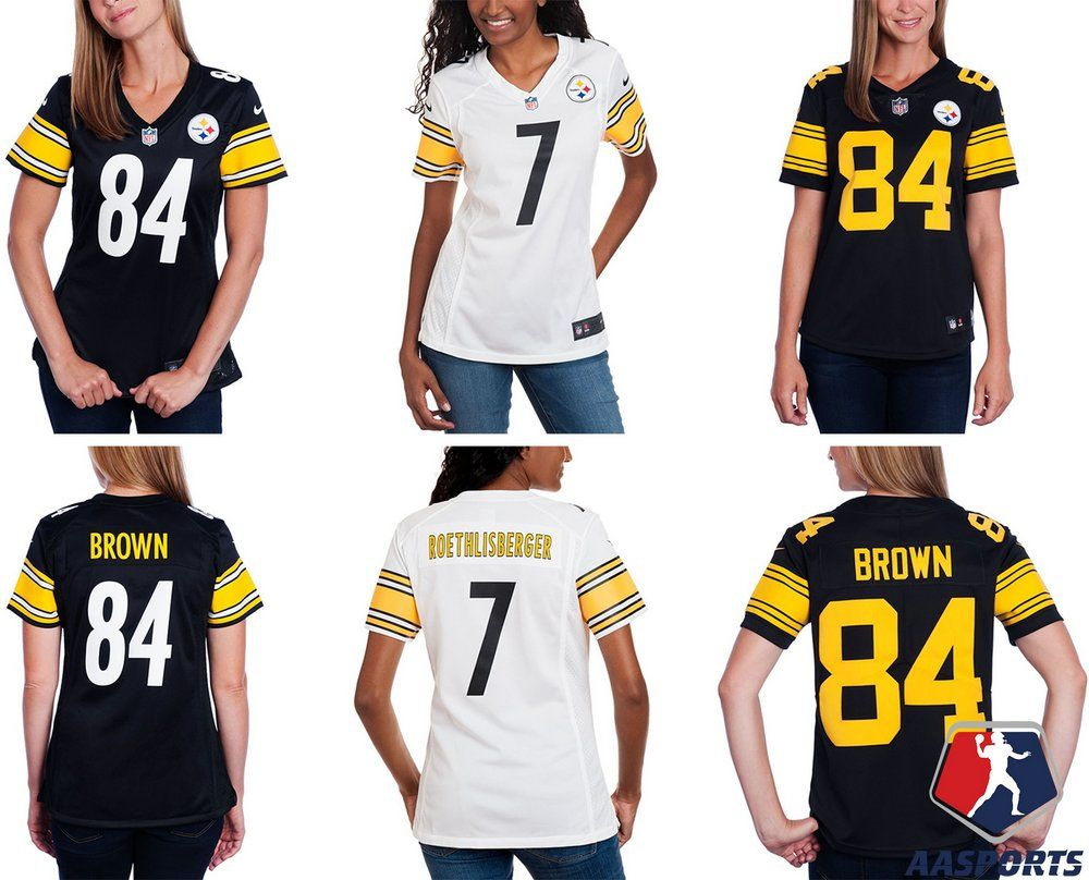 bf3c16e79a87b Camisa - Pittsburgh Steelers - 7 Ben Roethlisberger - 84 Antonio Brown -  FEMININA