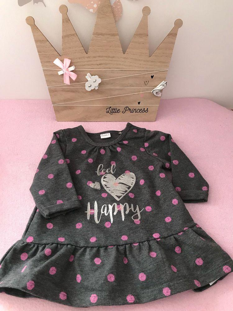on sale e7031 fa6b5 Graues Babykleid mit rosa Pünktchen und