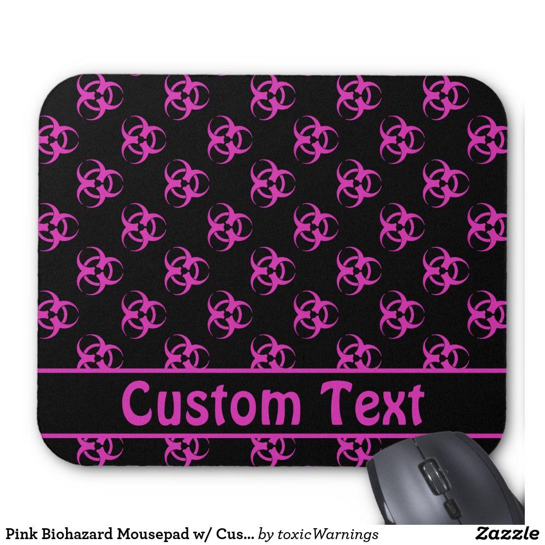 Pink Biohazard Mousepad w/ Custom Text