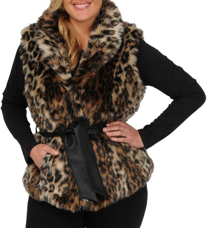 7308ac224b JCPenney Excelled Leather Excelled Faux-Fur Vest - Plus