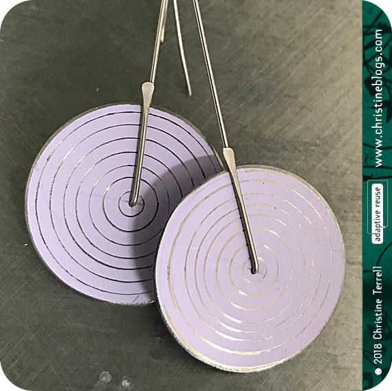 Modern White Concentric Circle Earrings Recycled Tin Anniversary Ethical Gift for Wife Geometric Statement Handmade Mod Boho Jewelry Design by christineterrell for adaptive reuse jewelry on Etsy