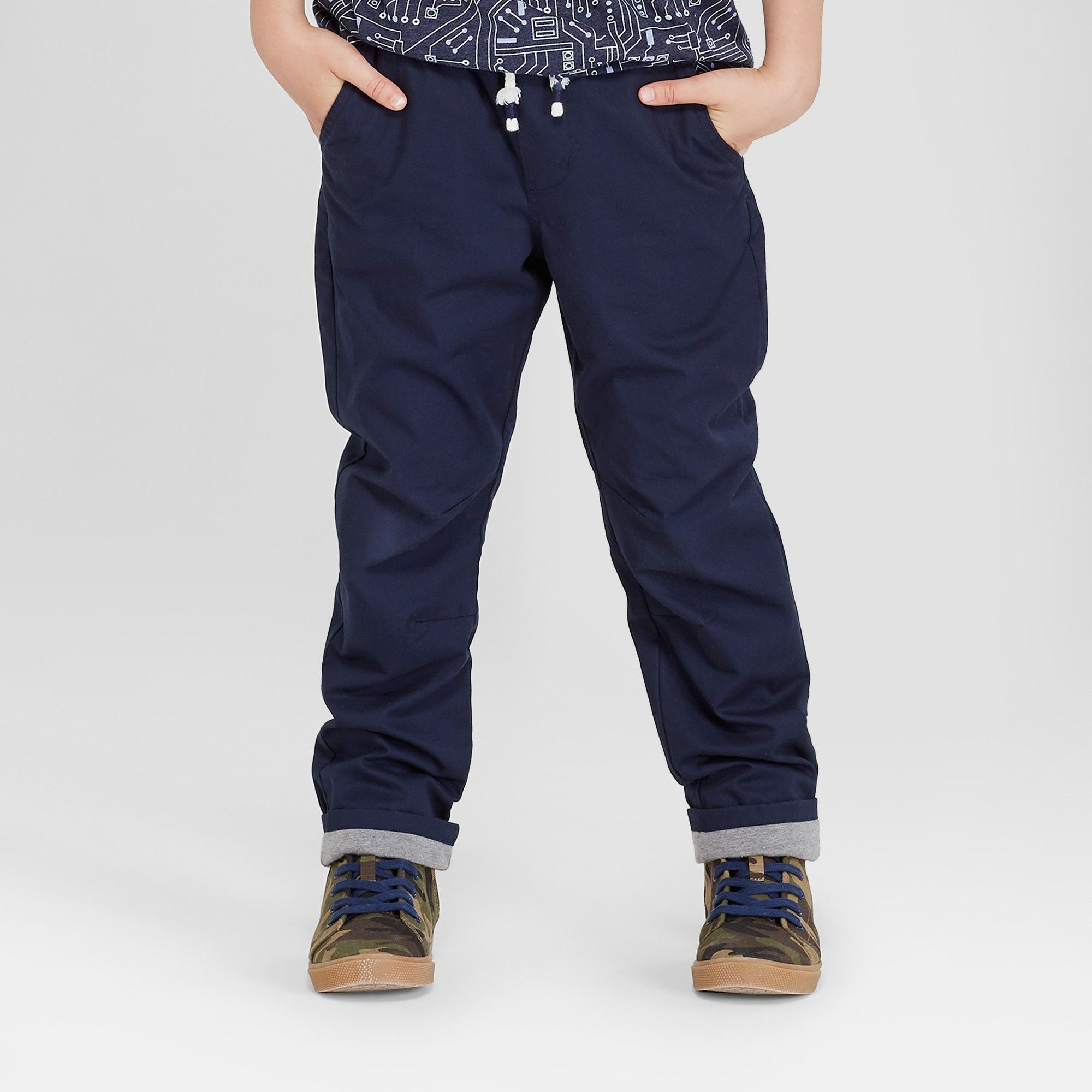 Boys Straight Fit Pull Jersey Lined Pants Cat & Jack Navy