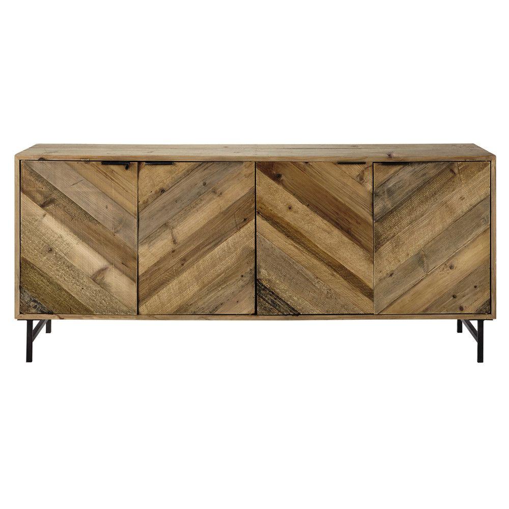 Aparador Industrial De Pino Reciclado Pine Sideboard Pine And  # Meuble Tv Bois Recycle