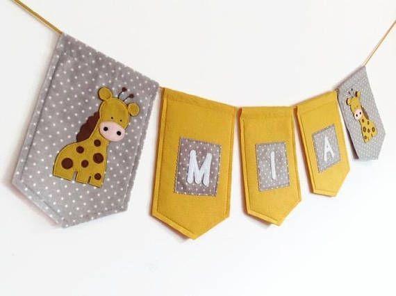 Personalised Felt Name Banner, Handmade Giraffe Garland, Kids Room Decor, Nursery Banner#banner #decor #felt #garland #giraffe #handmade #kids #nursery #personalised #room