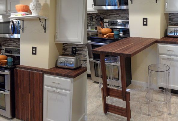 American Walnut Butcher Block Used As A Fold Away Table To
