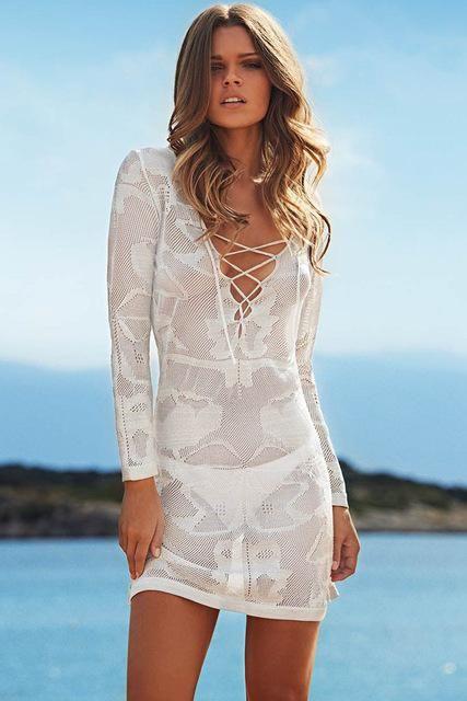edd5965e447 New Summer Swimsuit Lace Hollow Crochet Beach Bikini Cover Up 3/4 Sleeve  Women Tops Swimwear Beach Dress White Beach Tunic Shirt