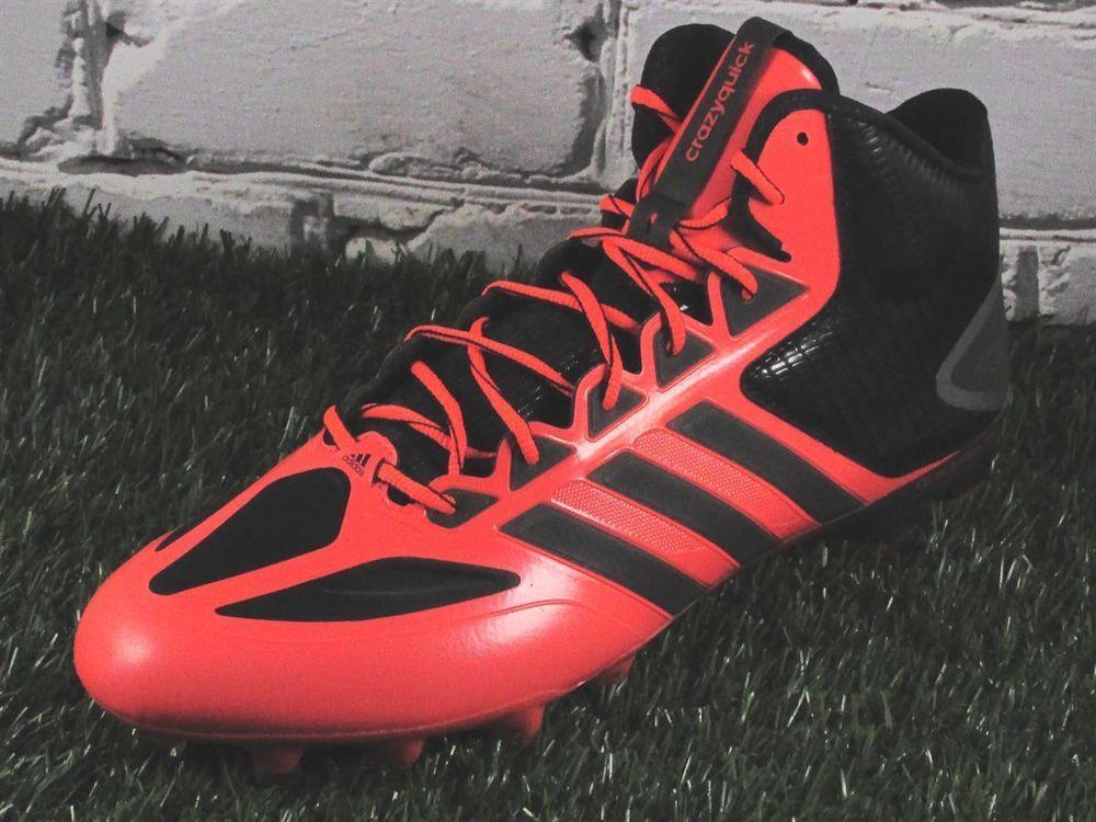 aaaab96a0993 Mens Adidas CrazyQuick Mid Molded Football Cleats Size 12.5 Orange/Black  #adidas